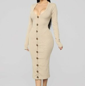 Fashion Nova Tan Ribbed Sweater Dress